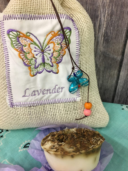 cream lavender bag with turquoise butterfly, orange and pink bead 3